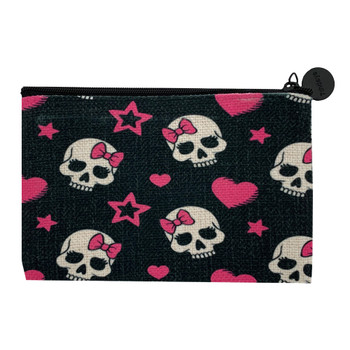 Girly Skull Small Cosmetic Bag back view