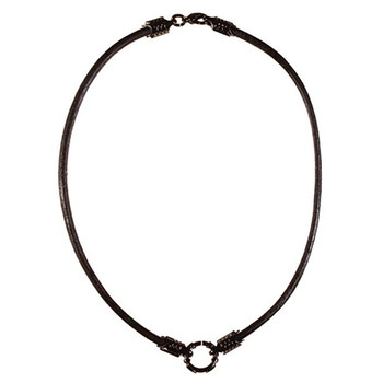 Bico Black Leather Choker Necklace