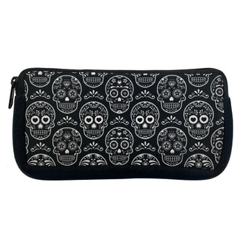 Day of the Dead White Sugar Skulls Makeup Cosmetic Bag