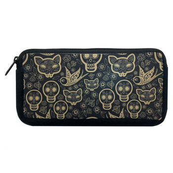 Day of the Dead Makeup Cosmetic Bag Gold