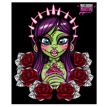 Miss Cherry Martini Zombie Girl Roses Canvas