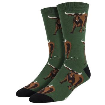 Longhorn Bulls Men's Crew Socks