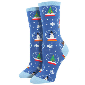 Snow Much Fun Women's Crew Socks Blue