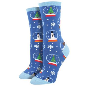 Snow Much Fun Women's Crew Socks Blue