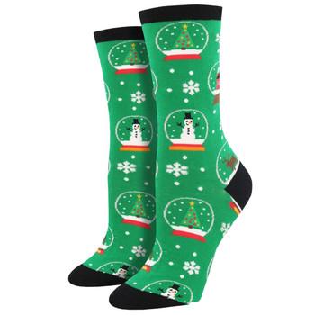 Snow Much Fun Women's Crew Socks Green