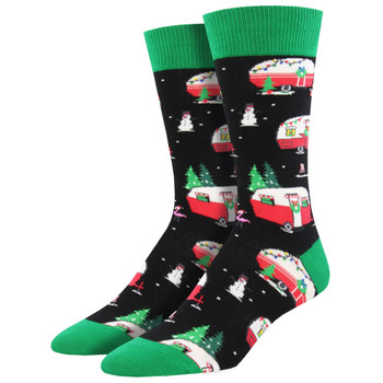 Christmas Campers Men's Crew Socks Black