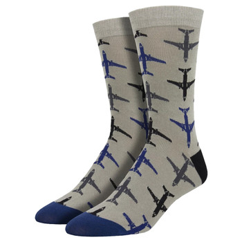 Airplanes Men's Bamboo Crew Socks Gray