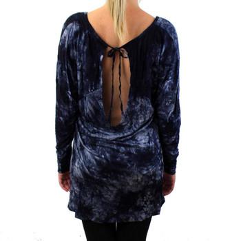 Dark Blue Shirt Tunic Top Tie Dye Mini Dress Shirt Woman's Fashion Clothing