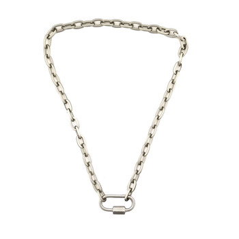 Rhodium plated carabiner chain necklace.