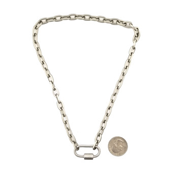Rhodium plated carabiner chain necklace with quarter to show size.