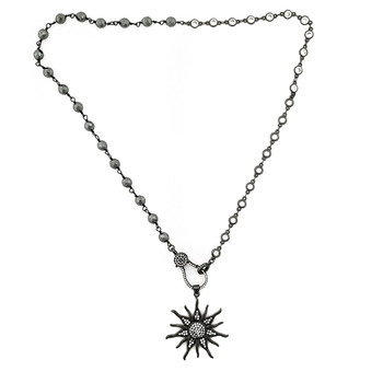 CZ sun pendant with 50/50 Hematite and CZ beaded necklace.