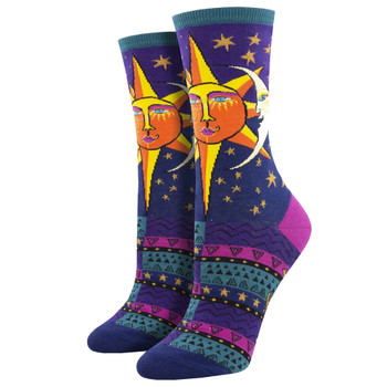 Sun and Moon Women's Crew Socks Purple