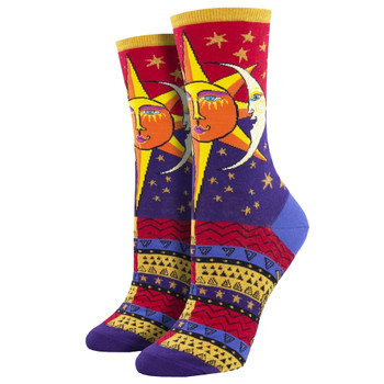 Sun and Moon Women's Crew Socks Red