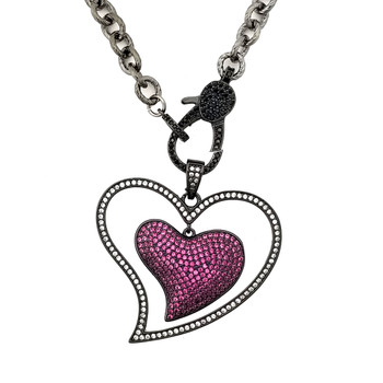 Pink heart CZ rhodium-plated necklace.
