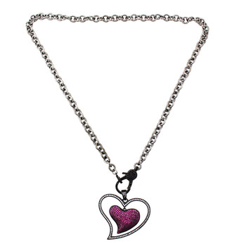 Pink heart CZ rhodium-plated necklace full necklace.