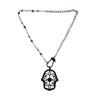 Hamsa necklace with Hematite color chain.