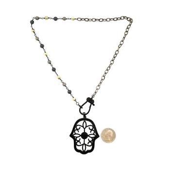 """19"""" Hamsa necklace."""