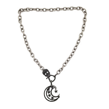 Moon and stars necklace with skull CZ clasp.