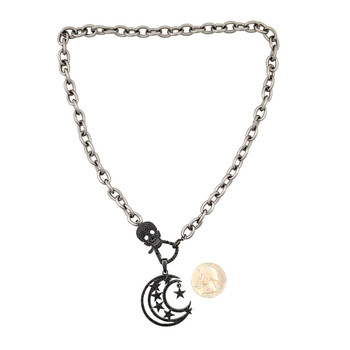 Moon and stars necklace with skull CZ clasp with quarter to show size.
