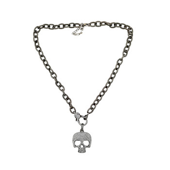 Skull CZ Hematite bling necklace.