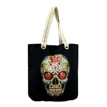 Colorful sugar skull tote bag
