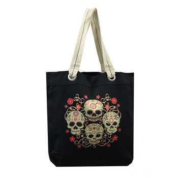 Four skulls canvas tote bag.