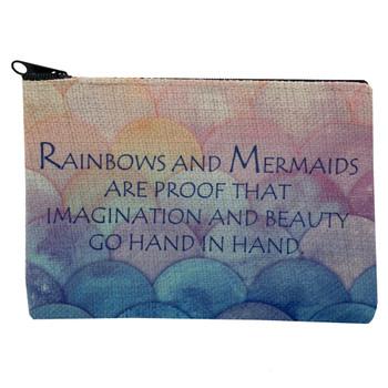 Rainbows and Mermaids Small Linen Makeup Bag