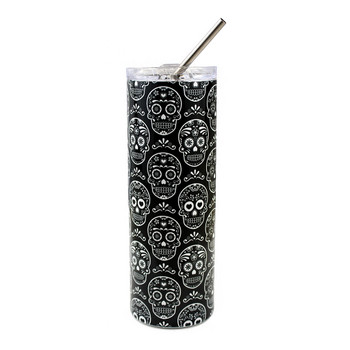 20 oz. black and white sugar skulls stainless steel travel mug.