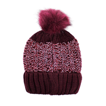 Wine women's knit soft beanie with a pompom.