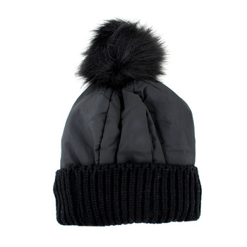 Black warm winter beanie hat.