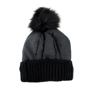 Black warm winter beanie hat.