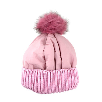 Pink warm winter beanie hat.