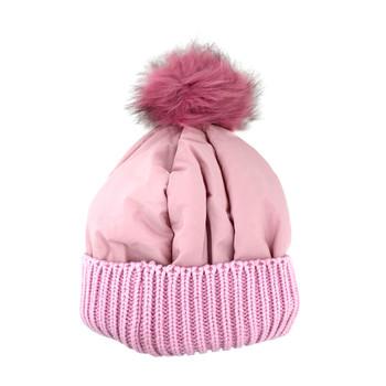 Pink warm winter beanie hat.