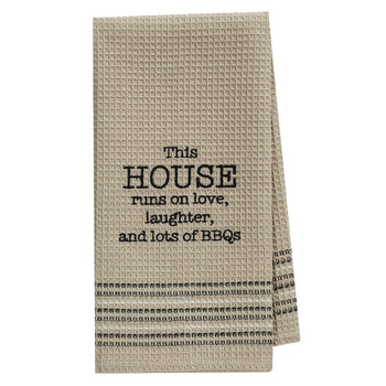 This House Runs on Love Waffle Weave Cotton Dishtowel