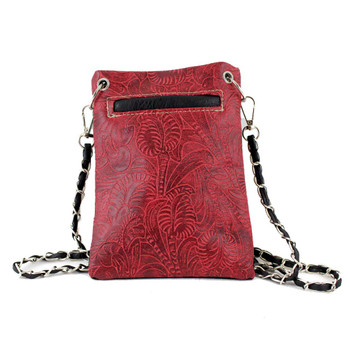 Cross and Wings Red Crossbody Bag back view