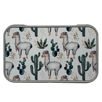 Llama and Cactus Small Tin Storage Box