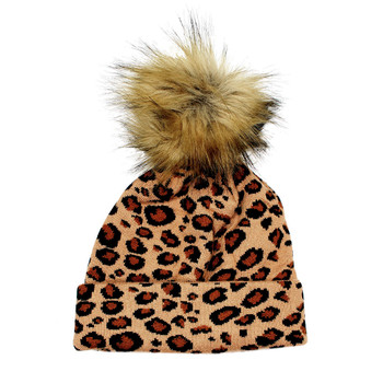 Leopard print thick knit beanie hat.