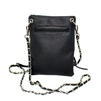 Skull and crossbone black fringe crossbody purse backside.