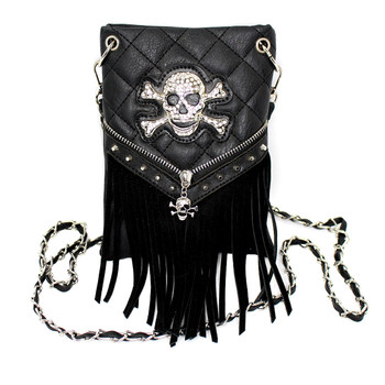 Skull and crossbone black fringe crossbody purse.