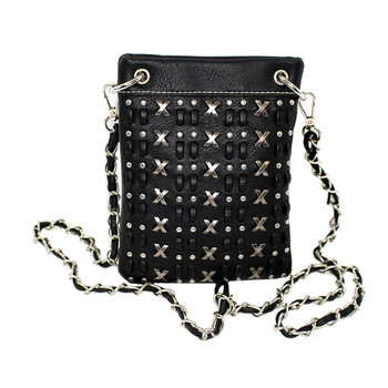 Black crossbody purse with X emblems and rhinestone detail.