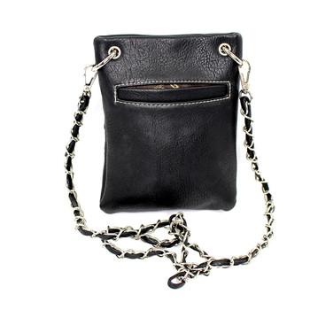 Black crossbody purse with X emblems and rhinestone detail back side.