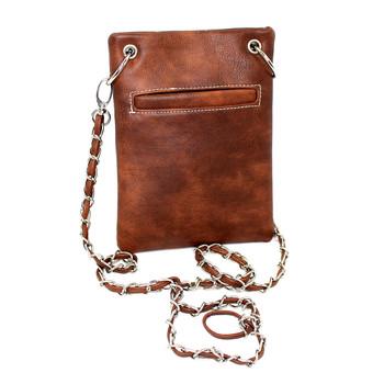 Brown southwestern design small crossbody shoulder purse backside.