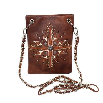 Brown southwestern design small crossbody shoulder purse.