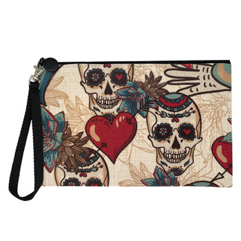 Hearts and Sugar Skulls Cosmetic Bag Pouch