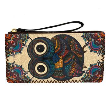 Boho Owl Printed Wristlet Wallet Clutch