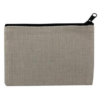 Small Linen Makeup Bag back view
