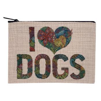I Love Dogs Small Linen Makeup Bag