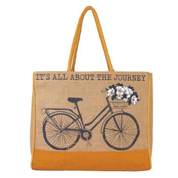 Trust The Journey Burlap Tote Bag