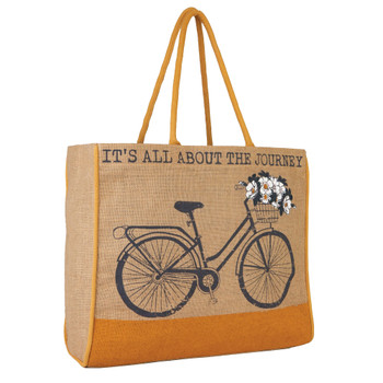 Trust The Journey Burlap Tote Bag side view