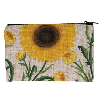 Spring Time Sunflowers Small Zippered Bag back view